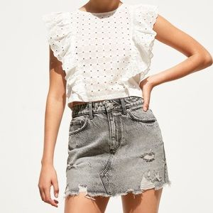 NWT • Zara • Ripped Denim Mini Skirt